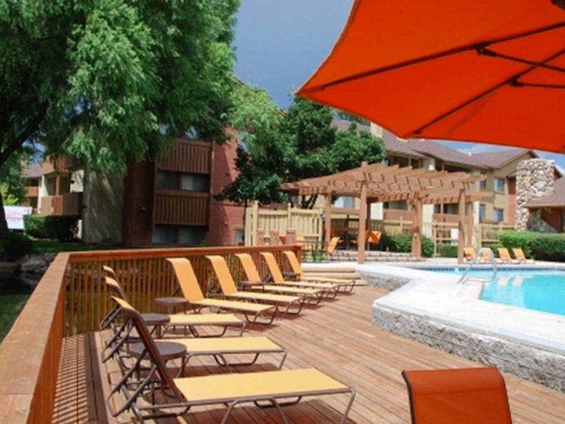 Community pool area at a Heber City, UT apartment complex