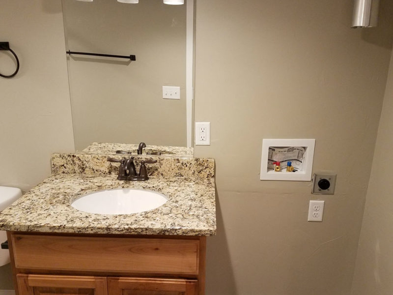 New apartment listing in Heber City, UT has washer and dryer hookups inside bathroom