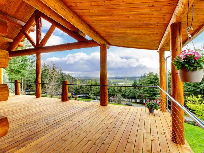Panoramic views from the wraparound porch and deck on a new rental listing in Heber City, UT
